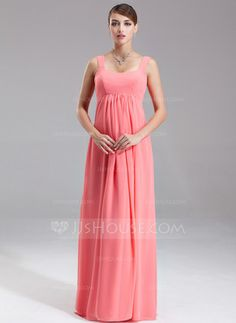 Empire Scoop Neck Floor-Length Chiffon Maternity Bridesmaid Dress With Ruffle (045004385) - JJsHouse