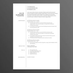 Clean and Modern Resume/CV Template The Allie by CVWarehouse