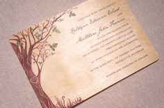 Real Wood Wedding Invitations  Curly Tree by woodchickstudios.  I like trees...