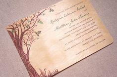 Real Wood Wedding Invitations  Curly Tree by woodchickstudios.  I like trees...