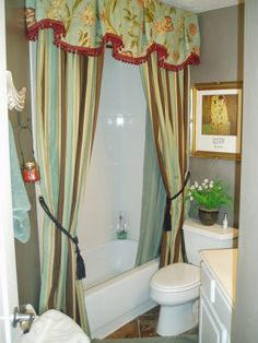My Small Guest Bathroom with Silver Walls and Custom Shower Curtains