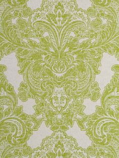 Lime green and grey damask wallpaper from American company Sherwin-Williams