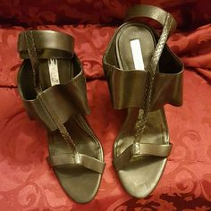 BCBG Leather Shoes with Ankle strap Never been worn. However,  minor scratch on heal. BCBGMaxAzria Shoes Heels
