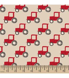 Snuggle Flannel Fabric-Tractors Red