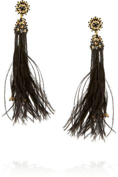AHmazing!!! OSCAR DE LA RENTA Gold-plated, crystal, bead and feather clip earrings