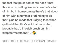 Peter Parker loves Thor Odinson almost as much as Tom Holland loves Chris Hemsworth. Marvel Infinity War