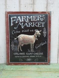 Primitive Country Farmers Market Embossed Goat Sign Farmhouse Home Decor