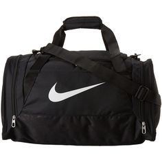 Nike Brasilia 6 Small Duffel (Black/Black/White Multi Snake) Duffel... (£23) ❤ liked on Polyvore featuring bags, luggage, sport, nike and accessories