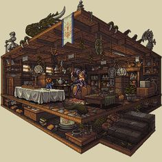Amazing RPG shop cross-section by Mago