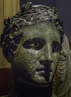 Bronze head of Ptolemy II Philadelphus ruler of Egypt in the guise of a Greek god found in the Villa dei Papyri in Herculaneum Roman 50 BCE Ptolemaic Dynasty, Hellenistic Period, Greek Art, Chef D Oeuvre, Male Figure, Greek Gods, Ancient Greece, Roman Empire, Ruler
