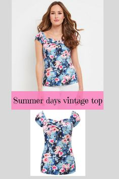 Look at the delicate blossom on this. So cute. The neckline is really flattering. I'd wear it with a blue circle skirt. #summertop #ad #vintagetop #summeroutfit #summerstyle