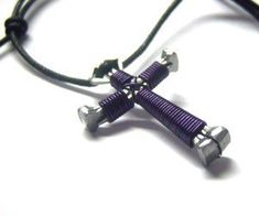 """Dark Purple Horseshoe Nail Cross Necklace by Horseshoe Crosses. Save 83 Off!. $1.99. The dimensions of the cross are approximately 1"""" 3/8 tall x 1"""" across The cross is expertly handcrafted using Horseshoe nails and color coated copper wire. Each Cross comes with a fully adjustable necklace cord.   When fully open, the necklace adjusts to approximately 26"""", but can also be drawn in small enough to be worn as a choker as well. All of my cross necklaces are 100% handcrafted from star..."""