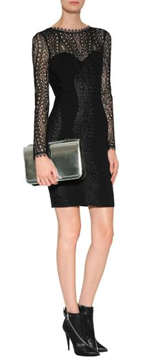 A sultry lace top lends an exquisite look to this long sleeve sheath from Emilio Pucci #Stylebop
