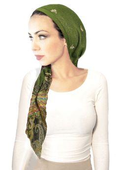 Olive forest green head scarf pashima, hippie boho chic artisan snood tichel pre tied bandana chemo hat cap headwear,  soft gold, 27$, ShariRose