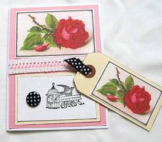 Flower Card with Matching Gift Tag  Victorian by PrettyByrdDesigns