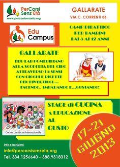 EduCampus DIURNO a GALLARATE per BAMBINI (5-12 anni) dedicato alla CUCINA CREATIVA e EDUCAZIONE AL GUSTO