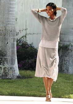 Eileen Fisher love this skirt, have it in olive green.  so versatile.  you can make it look a number of ways….
