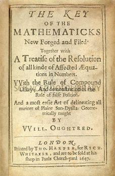 Copertina dell'edizione del 1647 della Key of the Mathematics di William Oughtred