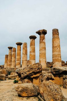 Valley of the Temples in Agrigento Sicily - the Temple of Heracles is one of the many wonders you can see at one of Italy's most spectacular World Heritage Sites Things To Do In Italy, Places In Italy, Asia Travel, Italy Travel, Italy Vacation, Vietnam Travel, Top Europe Destinations, Places To Travel, Places To Visit
