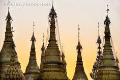 The+spires+of+Shwedagon+Pagoda,+Yangon+-+