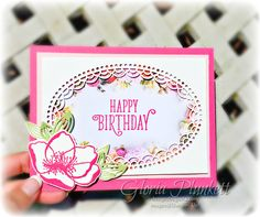 Using the Stampin' Up Beautiful Promenade Suite, Delightfully Detailed Laser-Cut Specialty Paper, and the Happy Birthday Gorgeous Stamp Set to create this birthday card for my daughter-in-love. Created by Gloria Plunkett at Designz By Gloria. Card details on my blog as well.