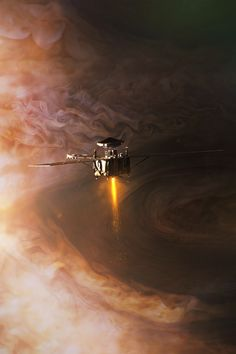 """spacethatneverwas: """" Real spacecraft/space mission Today, on 4th July, Juno is performing Jupiter Orbit Insertion burn, putting the spacecraft into highly elliptical polar orbit around Jupiter. Juno spacecraft, launched in August 2011 from Cape..."""