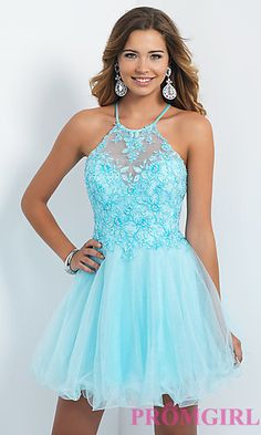 Short Lace Embellished Intrigue by Blush Homecoming Dress at PromGirl.com