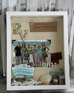 Shadow Box memories (one for each year with photo collage as background...use to cover one wall in the game/family room)