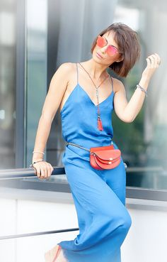 electric blue satin jumpsuit by asos | chloe georgia belt bag | spitfire red mirrored sunglasses | summer outfits