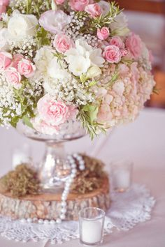 pink flower arrangement #wedding#decor