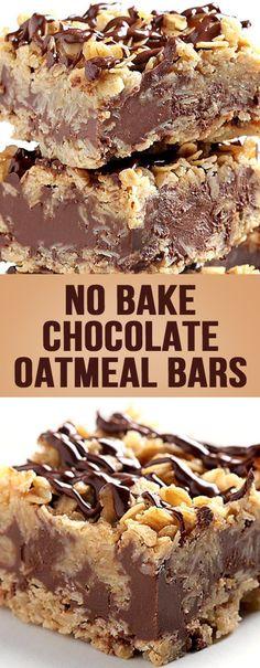 No Bake Chocolate Oatmeal Bars – Alle Rezepte - Desserts No Bake Treats, Yummy Treats, Sweet Treats, Köstliche Desserts, Delicious Desserts, Dessert Recipes, Bar Recipes, Recipies, Baking Recipes