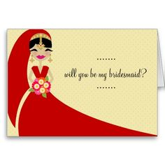 311-UPDO BRIDE Will You Be My Bridesmaid Greeting Cards
