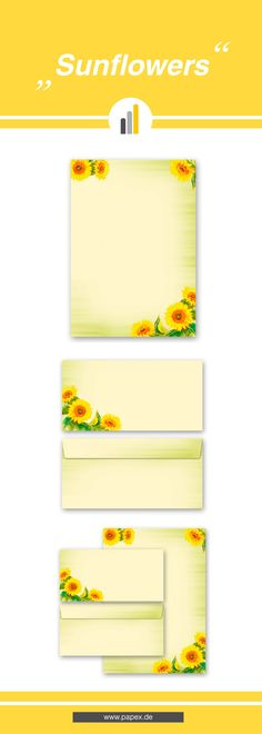 Briefpapier / Motivpapier SUNFLOWERS - Sagen Sie es »durch die Blume« mit unseren variantenreichen Blütenmotiven oder Designs aus vielen anderen Themenbereichen, um einem persönlichen Schreiben den richtigen Rahmen zu verleihen. Das Verwenden Sie unsere Produkte als Werbewirksame Zielgruppenmailings, Weihnachtsgrüße, für Angebote, als Saison-Briefpapier, für Einladungen, Glückwünsche, Speisekarteneinlagen, Aktionsprogramme, Feste, als Aushang im Schaufenster und für weitere tausend Anlässe.