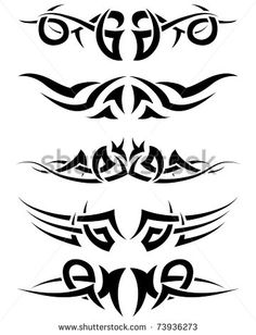 Patterns of tribal tattoo for design use. Vector illustration.