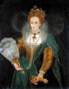 Elizabeth I., circa late 1590s. Possibly one of the portraits done for distribution, with Her Majesty's approval. So popular and in demand  were her portraits, Elizabeth permitted mass production of her image, for the people.