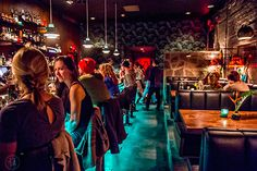 Wednesday, November 2015 After finishing up at Himitsu Lounge in Buckhead, I headed over to Decatur to see the newly opened S., tiki torches light th… Atlanta Brunch, Tiki Lights, Bar Interior Design, How To Make Drinks, Tiki Party, Tiki Torches, Brunch Spots, Hula Girl, Southern Style
