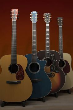 """A Martin, Taylor, Gibson and Martin acoustic guitars. """"Nice""""."""