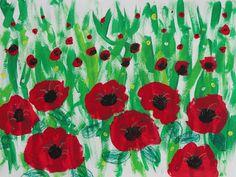 Splats, Scraps and Glue Blobs: 1st Grade Fields of Poppies