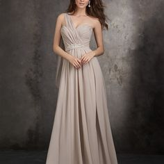 Style: 1407 - This full-length gown accents gracefully draped chiffon with a crystal beaded design.