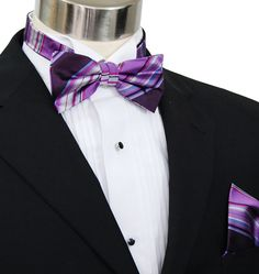 Paul Malone Bow Tie and Pocket Square Set . Purple, White and Blue . 100Silk (BT251H)