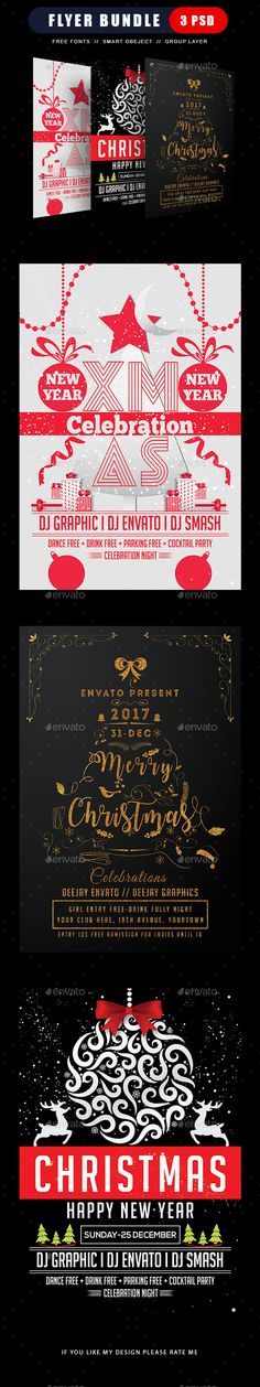 Buy Merry Christmas Flyer Bundle by dhingra on GraphicRiver. Merry Christmas, Xmas, Christmas Flyer Template, Flyer Design Inspiration, Club Parties, Party Poster, Beauty Photos, Party Flyer, Christmas Design
