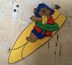SOLD Vintage surf Paddington Bear iron on woven patch Paddington Bear, Vintage Surf, Surfing, Patches, Buy And Sell, Iron, Handmade, Stuff To Buy, Hand Made