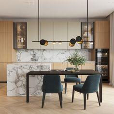 Kitchen Kitchen Room Design, Kitchen Dinning, Kitchen Sets, Modern Kitchen Design, Living Room Kitchen, Home Decor Kitchen, Interior Design Kitchen, Home Kitchens, Cocinas Kitchen