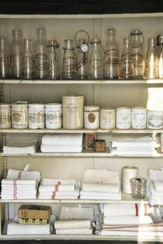 Home Decor Objects : Pantry storage. I especially like the possibility of storing table linens, dish towels, linen napkins and maybe even table cloths, and place mats! Pantry Storage, Pantry Organization, Kitchen Storage, Organized Pantry, Pantry Ideas, Kitchen Shelves, Bathroom Storage, Kitchen Pantry, Kitchen Dining