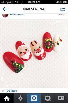 My Inspiration for Santa Christmas nails 2014 Xmas Nail Art, Xmas Nails, Christmas Nails, Santa Christmas, 2014 Trends, Fall Trends, Sun Nails, Nails 2014, Beautiful Nail Art