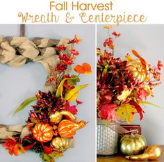 Cute and easy Fall Decor!  Fall Harvest Wreath & Centerpiece | Do More For Less