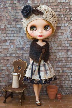 Bonnet tricoté ensemble cape et chapeau, s'adapte à Blythe et Pullip, Mori Style