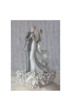 Vintage Rose Pearl First Dance Wedding Cake Topper (Silver or Gold)