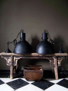 Black industrial lamps and checkered floor
