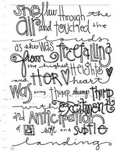 """lettering favorite quote or song lyrics project - """"Freefalling"""" by Lindsay Ostrom"""